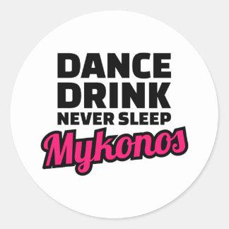 Dance drink never sleep classic round sticker