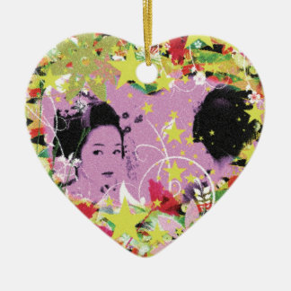 Dance eightfold dance 11 of flower ceramic heart ornament