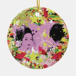Dance eightfold dance 11 of flower round ceramic ornament