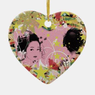 Dance eightfold dance 12 of flower ceramic heart ornament