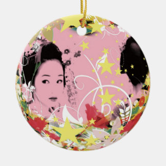 Dance eightfold dance 18 of flower round ceramic ornament