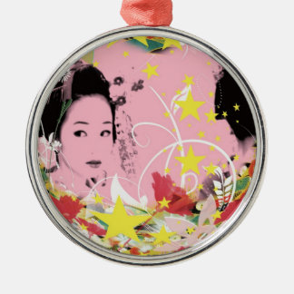 Dance eightfold dance 18 of flower Silver-Colored round ornament