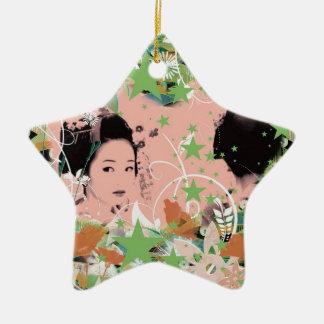 Dance eightfold dance 2 of flower ceramic star ornament