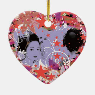 Dance eightfold dance 4 of flower ceramic heart ornament