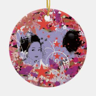Dance eightfold dance 4 of flower round ceramic ornament