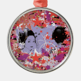 Dance eightfold dance 4 of flower Silver-Colored round ornament