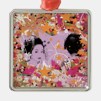 Dance eightfold dance 6 of flower Silver-Colored square ornament