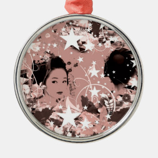 Dance eightfold dance 7 of flower Silver-Colored round ornament