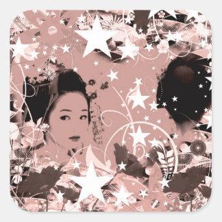 Dance eightfold dance 7 of flower square sticker