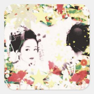 Dance eightfold dance 9 of flower square sticker