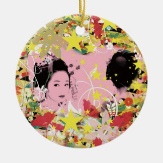Dance eightfold dance of flower round ceramic ornament