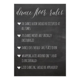 Dance Floor Rules sign | chalkboard fun sign Poster