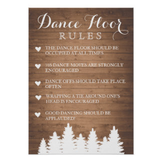 Dance Floor Rules wedding | Pine tree fun sign
