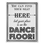 Dance floor seating plan wedding or party sign
