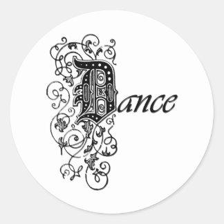 DANCE in Decorative Letters Round Sticker