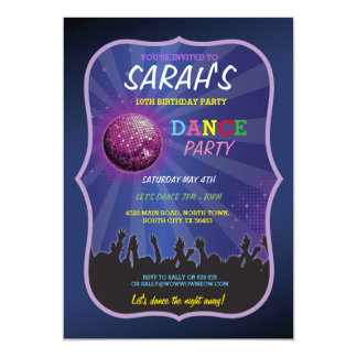 DANCE LET'S GLOW INVITE DISCO BALL BIRTHDAY PARTY