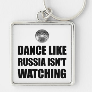 Dance Like Russia Not Watching Silver-Colored Square Keychain