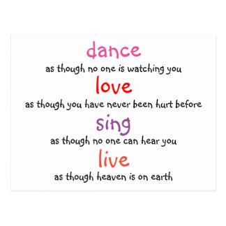 dance, love, sing, live postcard