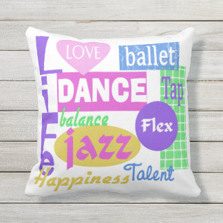 Dance Mix Text Design Outdoor Pillow