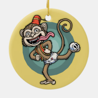 Dance, Monkey! Round Ceramic Ornament