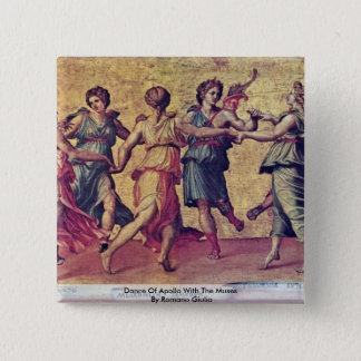 Dance Of Apollo With The Muses By Romano Giulio 2 Inch Square Button