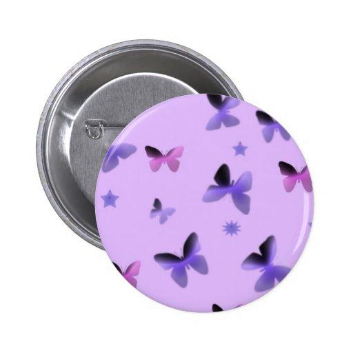 Dance of Butterflies in Lilac Purple Button