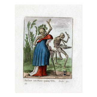Dance of Death - The Old Woman - 1816 Color Print Postcard