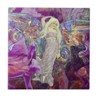 Dance of the Butterfly Fairy Ceramic Tile