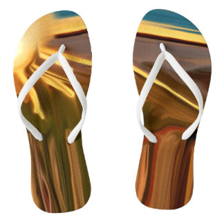 Dance of the Cacti Southwest Abstract Art Flip Flops