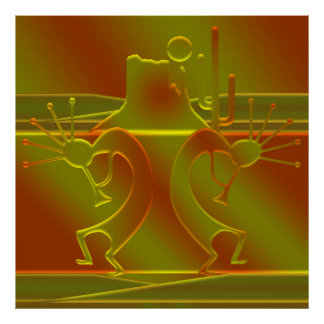 Dance of the Gods in Orange & Gold Poster