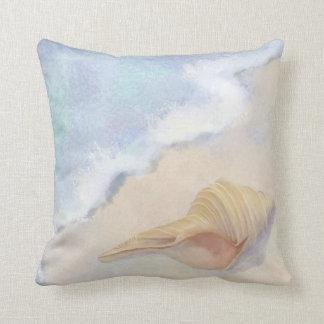 Dance of the Sea Trumpet Shell Beach Ocean Sand Throw Pillow