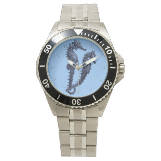 Dance Of The Seahorses (Blue) Wrist Watches