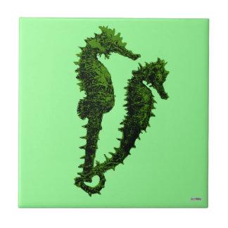 Dance Of The Seahorses (Green) Ceramic Tiles