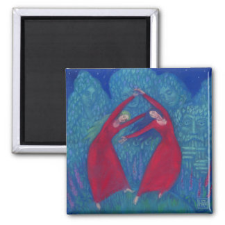 Dance of the witches, pastel painting, fantasy art magnet