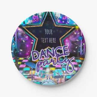 DANCE PARTY Birthday Musical Pop Rock Dance Girls 7 Inch Paper Plate