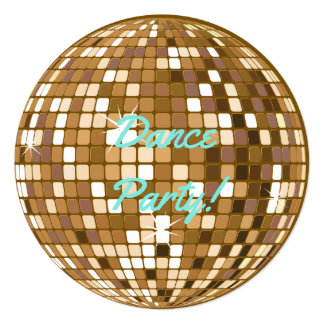 Dance Party Disco Ball Party Invitations