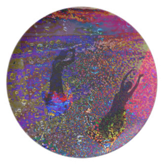 Dance , party drinks in full colors dinner plate