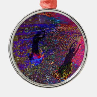 Dance , party drinks in full colors Silver-Colored round ornament