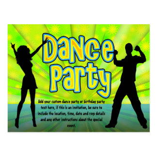 Dance Party, Neon Green/Black Postcard