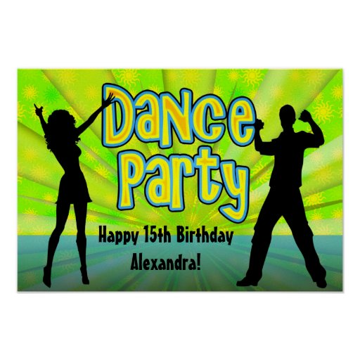 Dance Party, Neon Green/Black Posters