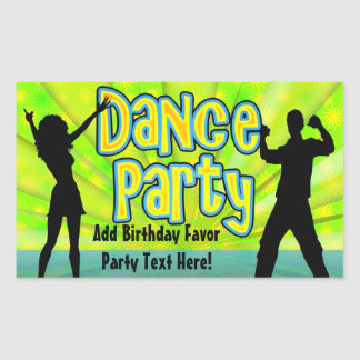 Dance Party, Neon Green/Black Sticker