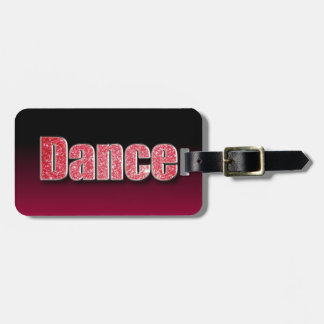Dance Pink Glitter Luggage Tag