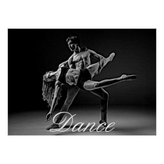 Dance Poster, Black and White Romantic Dance Photo Poster