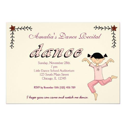 """dance recital 5"""" x 7"""" invitation card  zazzle"""