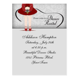 Dance Recital Postcard Invitation
