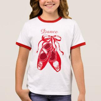 Dance Red Ballet Shoes Girl's Ringer T-Shirt