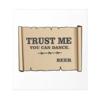 dance says beer notepad