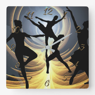 Dance school square wall clock