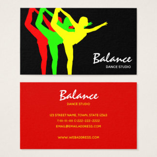 Dance Studio Modern Neon Vibrant Body Silhouette Business Card