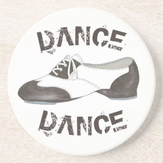 DANCE Tap Shoe Tapdance Teacher Black White Studio Coaster